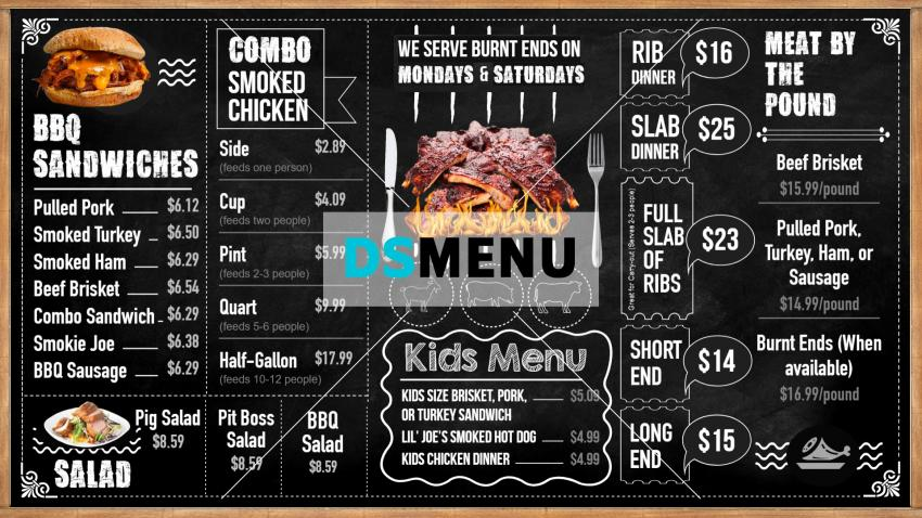 Barbecue Chalk Menu board Design template for testaurant