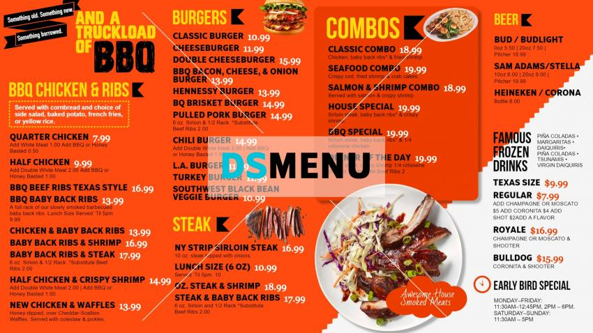 Digital menu boards for fast food with BBQ item