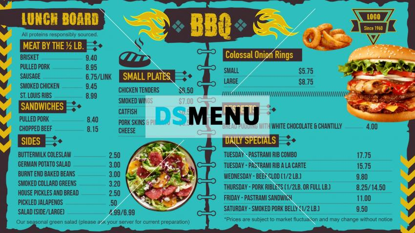 Barbecue Menu Board Page Style design for restaurants
