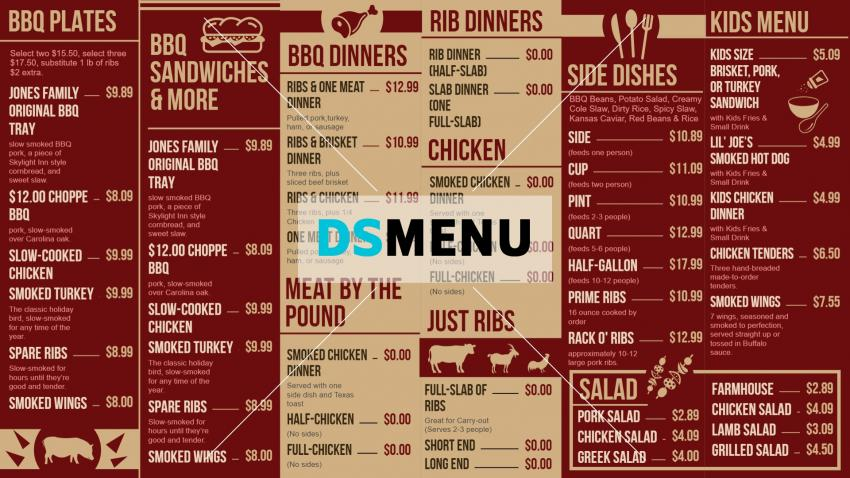 Barbecue Menu board Templates for Digital signage for Restaurants