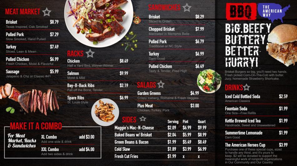 Digital menu boards for BBQ for American restaurants