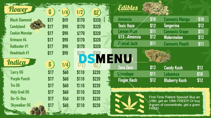 Medical Marijuana Dispensary Menu for smart tv