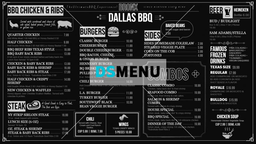 BBQ chalk Menu Design Template for your restaurant