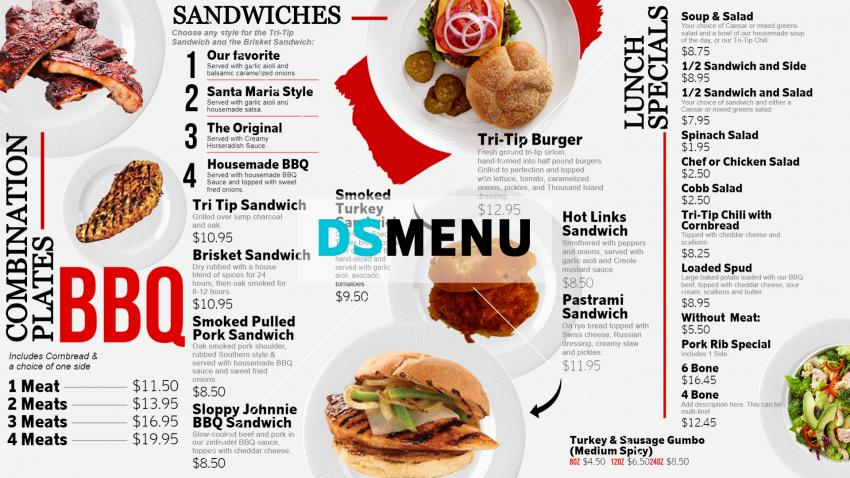 Excellent BBQ White Menu Board for digital signage
