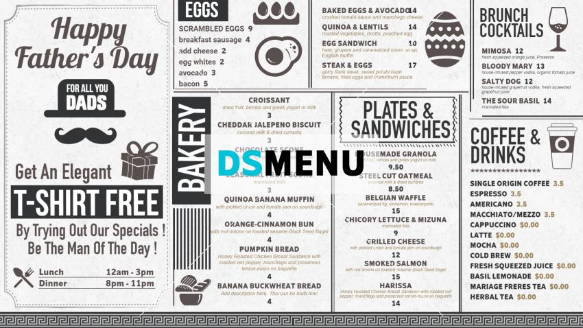 Father's day special digital signage white color Menu-board