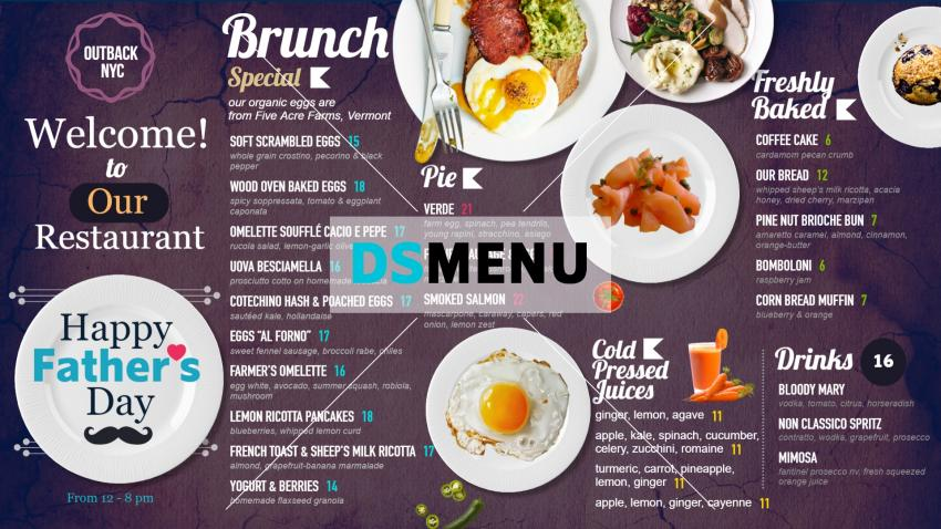 Father's Day Brunch Special Menu for restaurants and digital signage