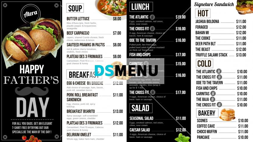 Father's Day Black and White Digital Signage Menu Design