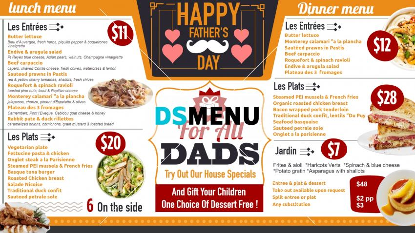 Best Father's day special Menu for digital signage