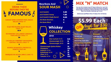 Wine menu boards | Digital Signage Template