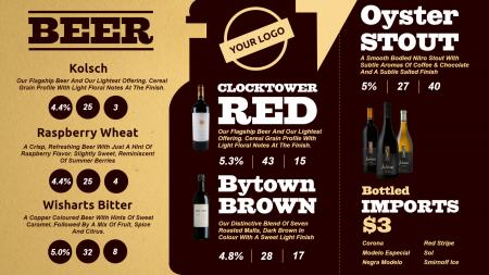 Wine Menu Template | Digital Signage Template