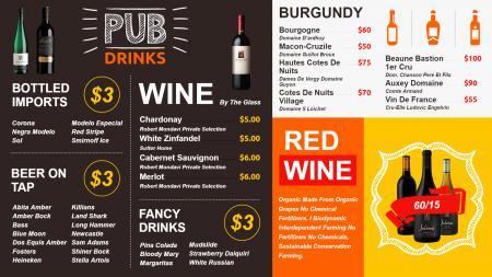 Wine Menu Design | Digital Signage Template