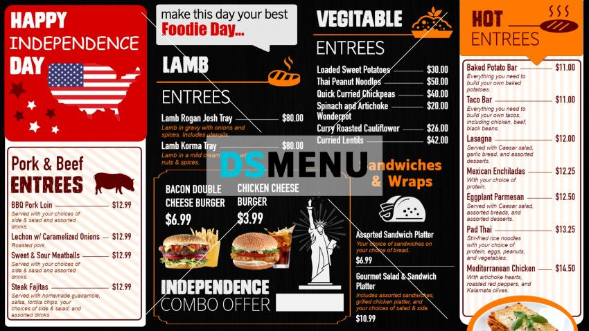 USA Independence Day Menu Board for Digital Signage