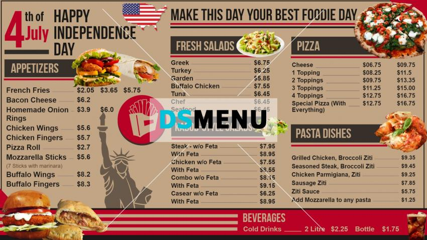 Independence Day Signage Menu for Restaurants and Restaurant Marketing