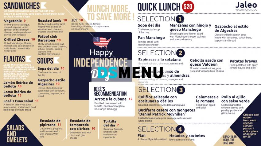 Independence Day Retro Menu for Digital Signage for Restaurants