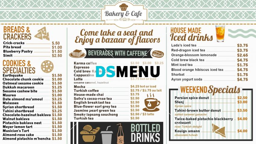 Classic Bakery Menu Templates from Dsmenu for Digital Signage