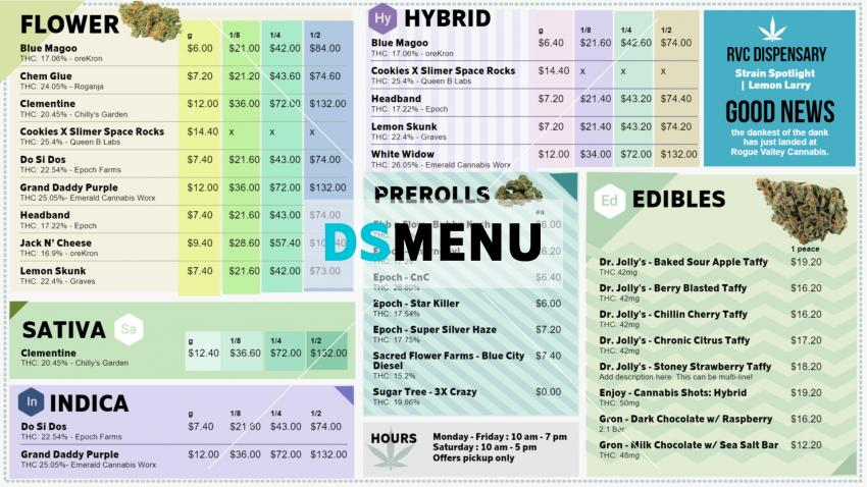 Cannabis Dispensary Menu Board Design for digital signage