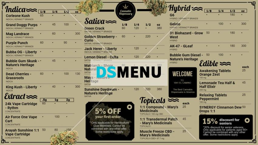 Cannabis Dispensary Digital Signage Menu for Restaurants