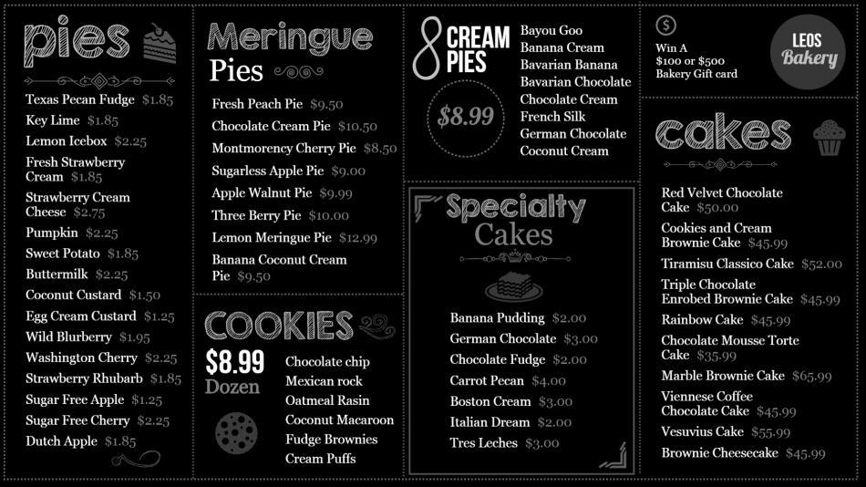 Bakery Chalk Board menu for digital signage for restaurants
