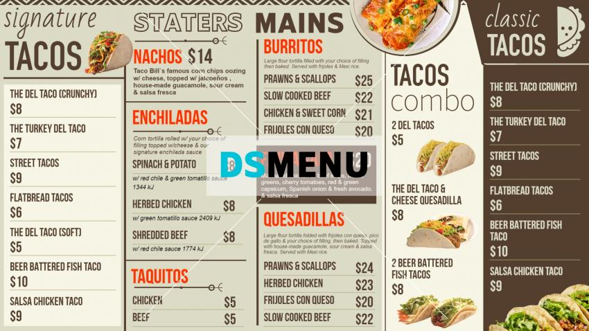 Mexican Signage Menu Design for Digital Signage for Restaurants.