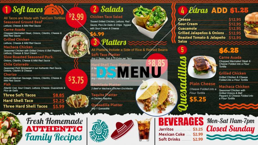 Sample Mexican Tacos Menu Board for Digital Signage