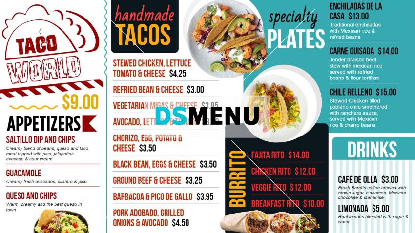 Mexican Taco Menu Board Template for Digital Signage