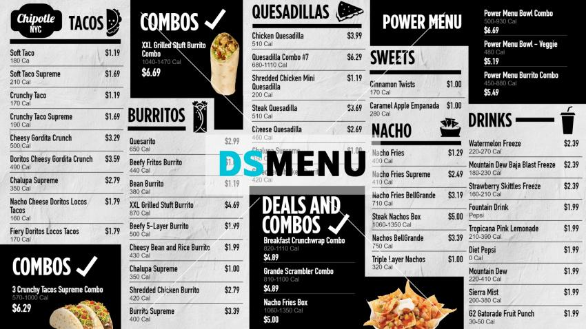 Mexican Food Menu Board Template for digital signage