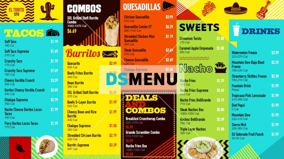 Multi color Mexican Retro Menu Design DsMenu for digital signage