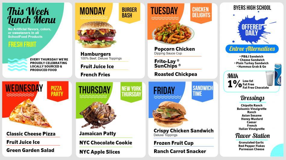 Nice digital signage menu for food for schools