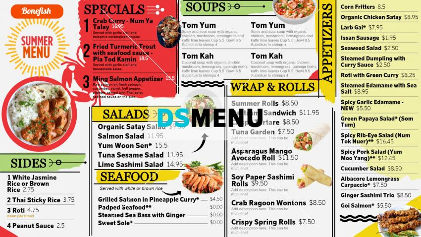 Summer Special Digital Signage Menu Board for Restaurants