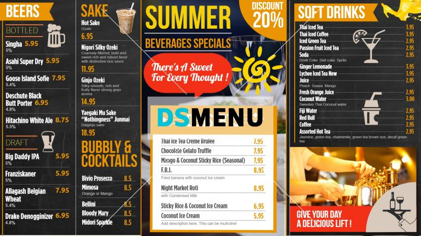 Black restaurant menu for digital signage from DsMenu