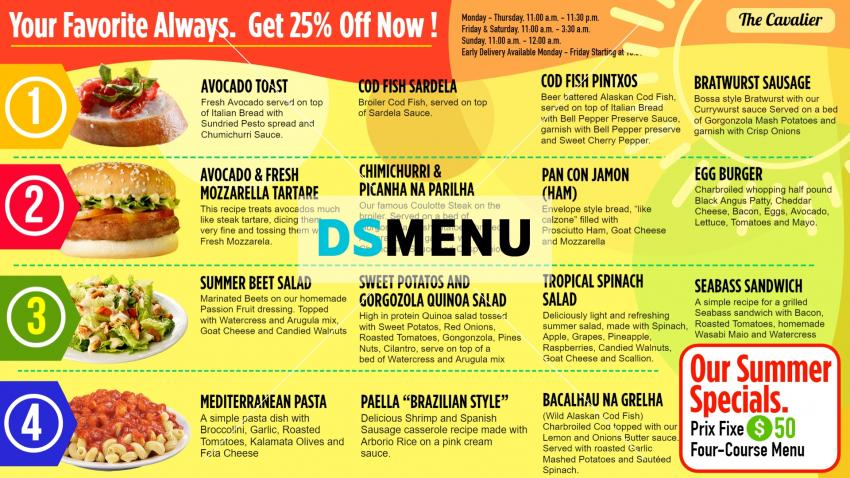Summer Menu Board Design for Restaurant from DsMenu