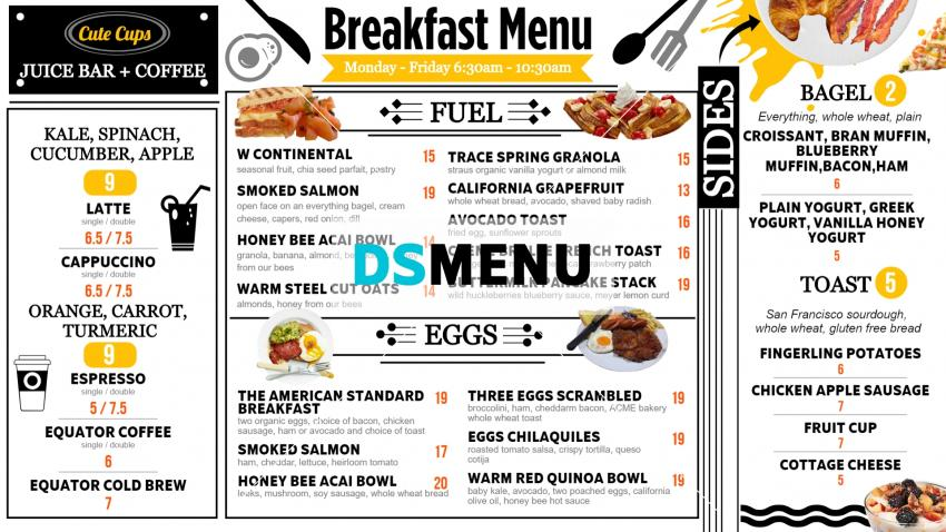 Download white breakfast signage menu for restaurant and restaurant marketing