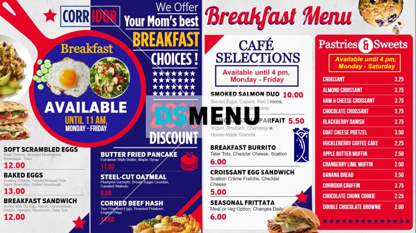 Colorful digital menu board for for restaurant and restaurant marketing