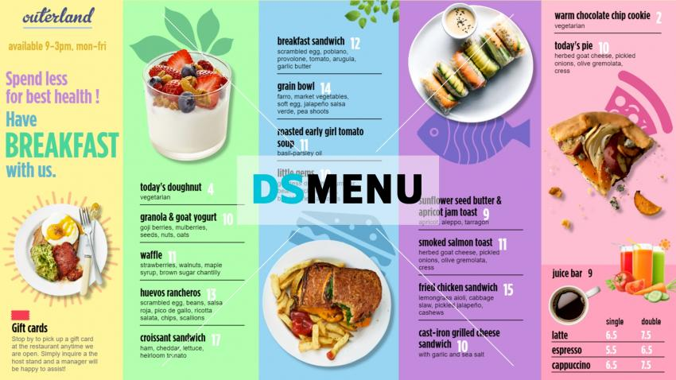 Breakfast Menu Template for digital menu boards