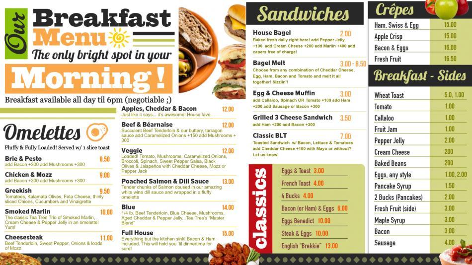 Online Breakfast Menu Board Design for digital signage
