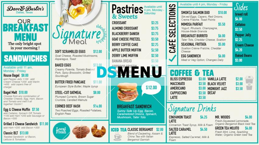 Best digital signage menu for Breakfast for restaurants