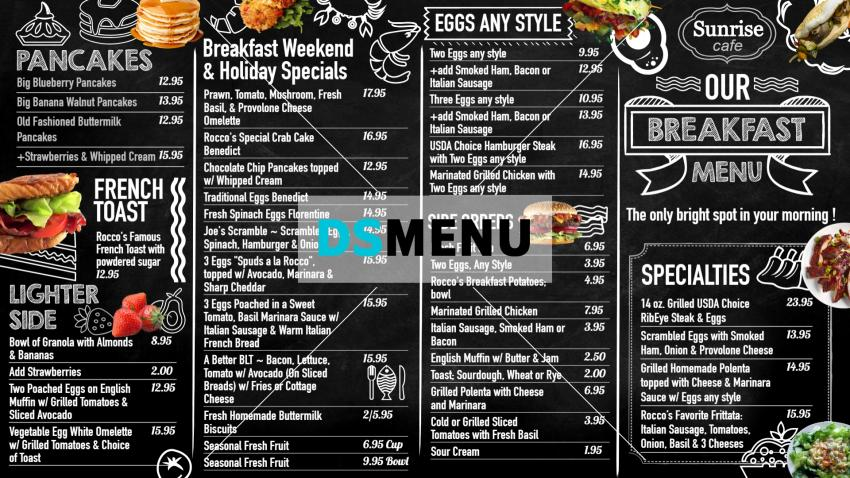 Breakfast Chalk Menu for Digital Signage for Restaurant