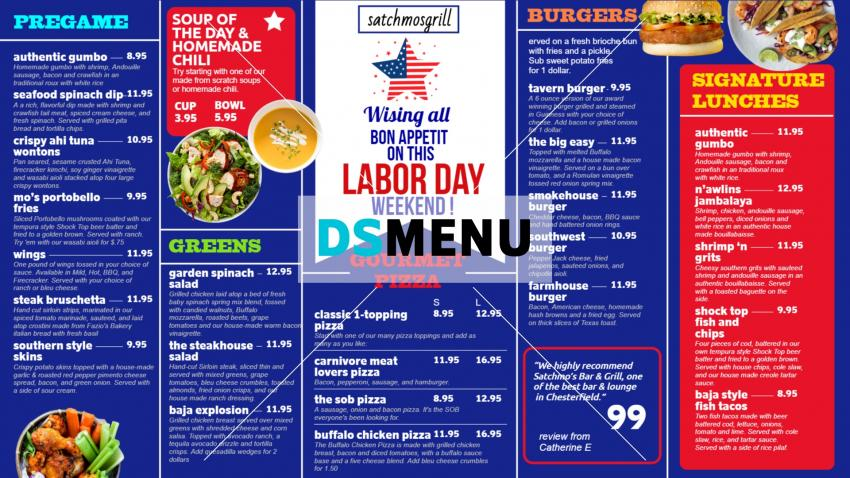 Labor Day Special Signage Menu for Restaurant and Restaurant Marketing