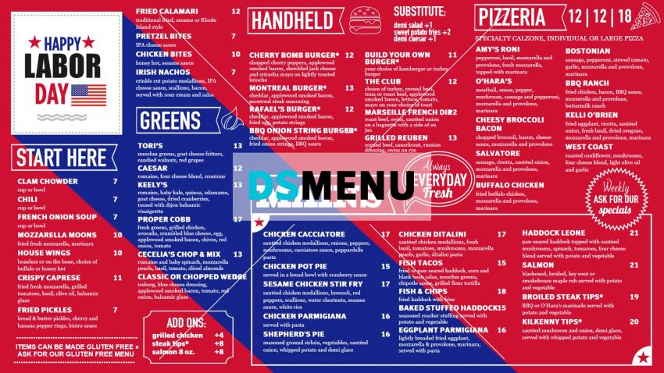 Labor Day Digital Signage Menu for Restaurant and Restaurant Marketing