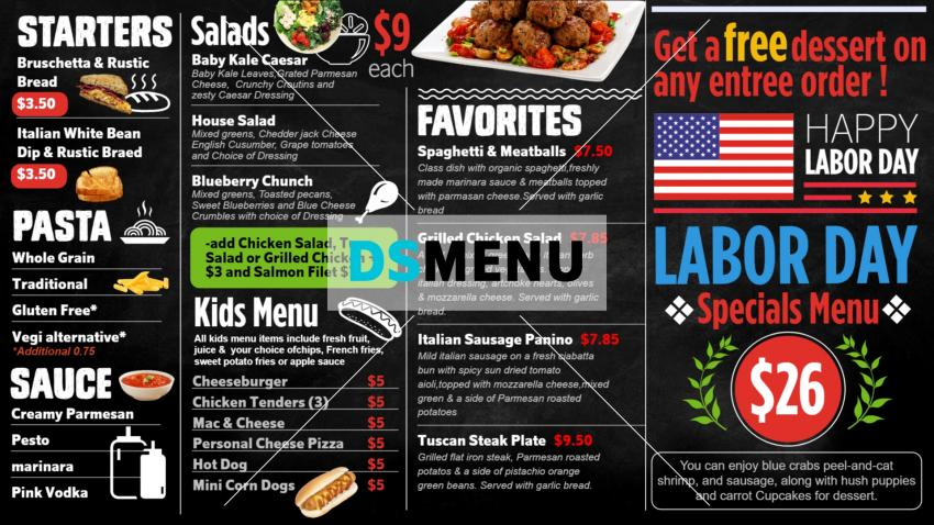 Labor Day Menu Design Template for Digital Signage for Restaurant