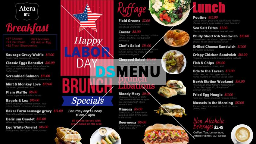 Labor Day Menu design for digital menu for restaurants