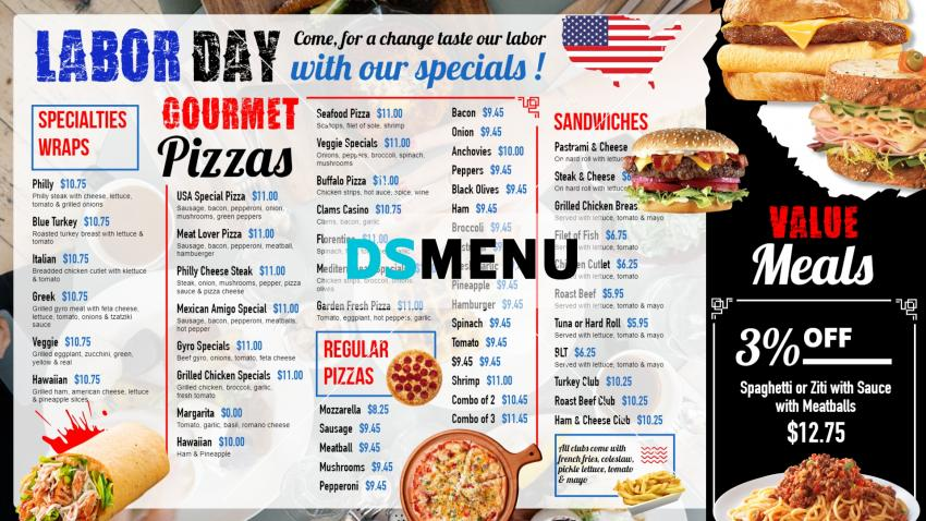 Labor Day Signage Menu design for Digital Signage