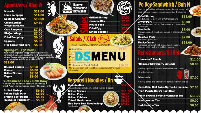 Black American Chinese food Menu for digital menu