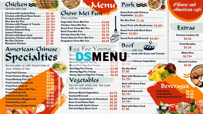 American Chinese Menu Board for digital signage for restaurants