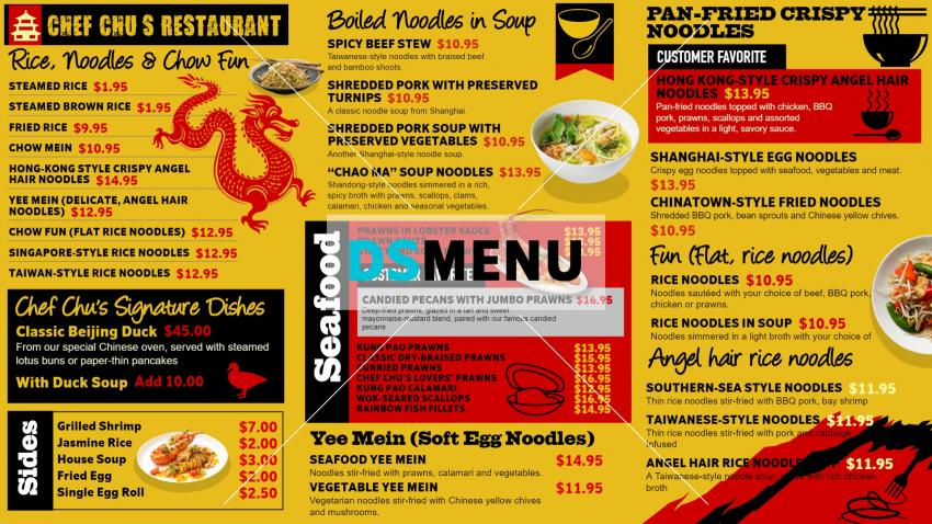 Classic Chinese menu for restaurants from Dsmenu