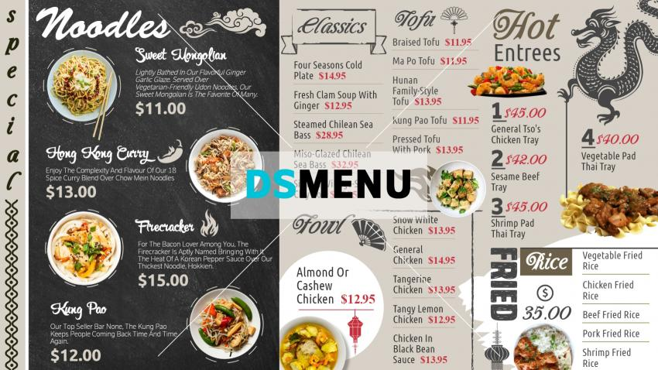 Chinese Digital Signage Menu Design for Restaurant and Restaurant Marketing