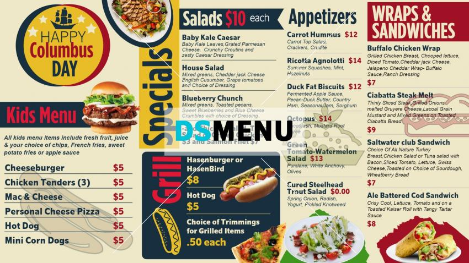Columbus Day Menu Design for Digital Signage for Restaurants