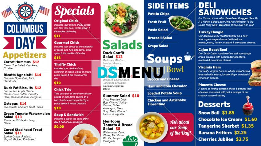 Multicolored digital signage menu board design for restaurants
