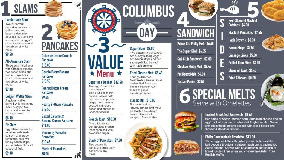 Columbus Day Digital Menu for Restaurants