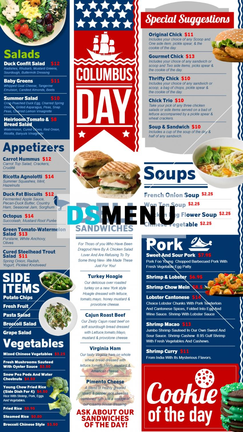 Columbus Day Vertical Menu Board for restaurant and restaurant marketing